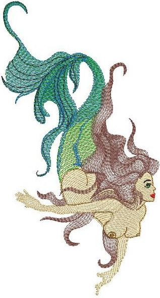 Mermaid embroidery design 2