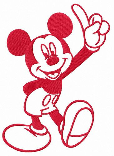 Mickey Mouse number one embroidery design