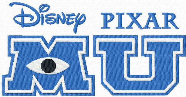 Monster University logo machine embroidery design
