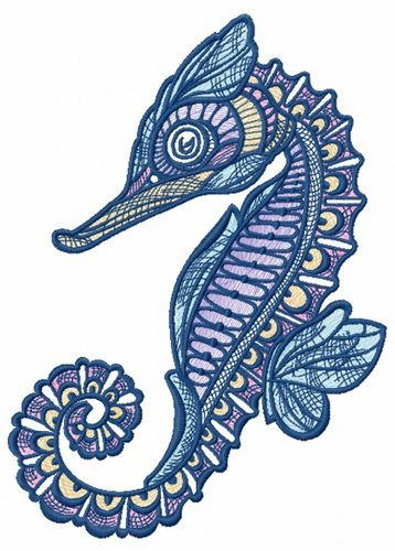 Mosaic sea horse embroidery design