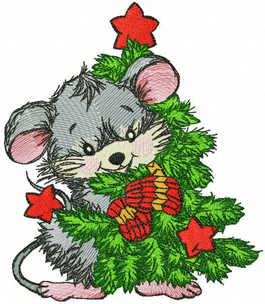 Mouse hugs Christmas tree embroidery design