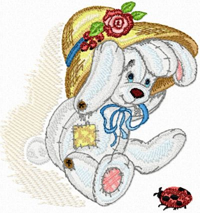 Bunny with Small Bug free machine embroidery design