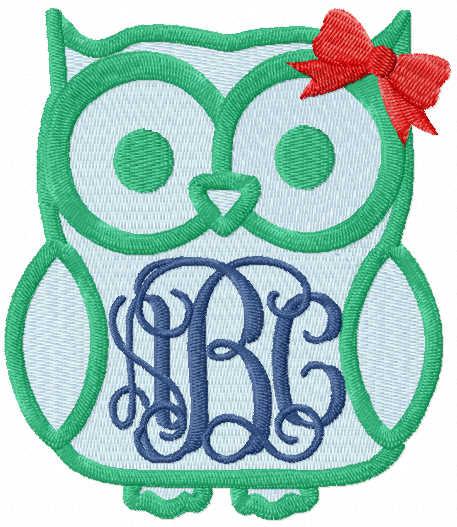 Owl monogram free embroidery design