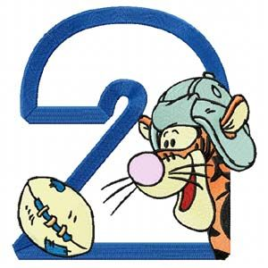 Winnie Pooh Sport Number Two embroidery design