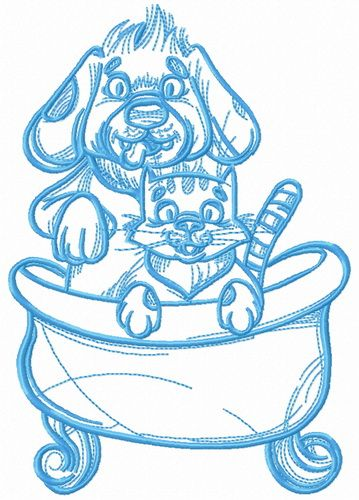 Pet shower embroidery design