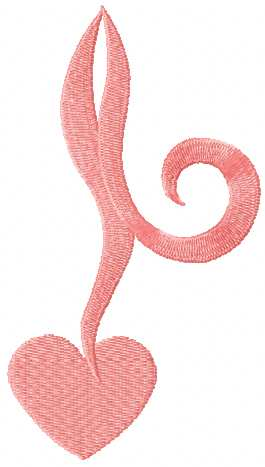 Pink heart embroidery design 3