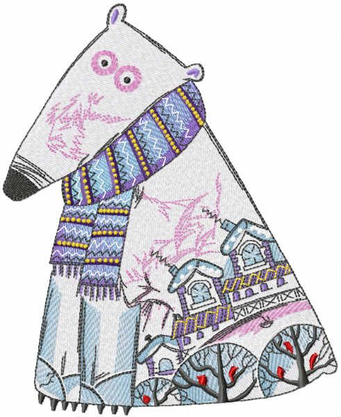 Polar bear patterned embroidery design