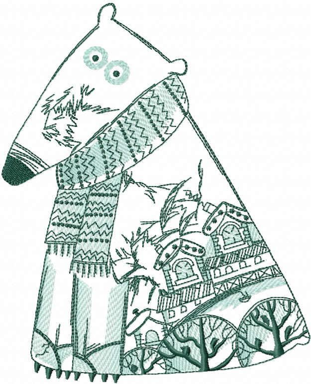 Polar bear winter pattern embroidery design