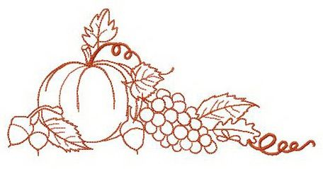 Pumpkin, grapes and nuts embroidery design