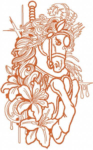 Red circus horse embroidery design