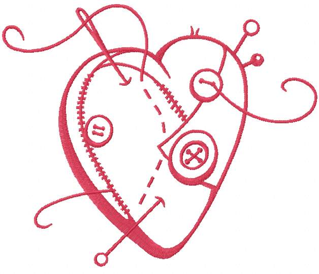 Red sewing heart embroidery design