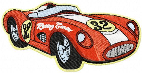 Retro Sport car embroidery design