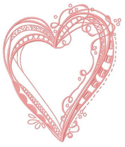 Ribbon heart embroidery design 2