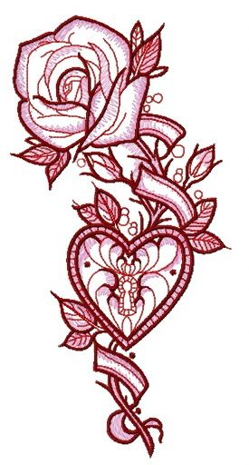 Rose and locked heart embroidery design