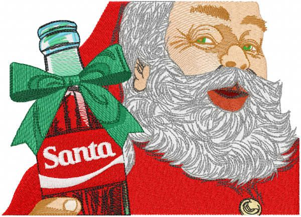 Santa present bottle embroidery design