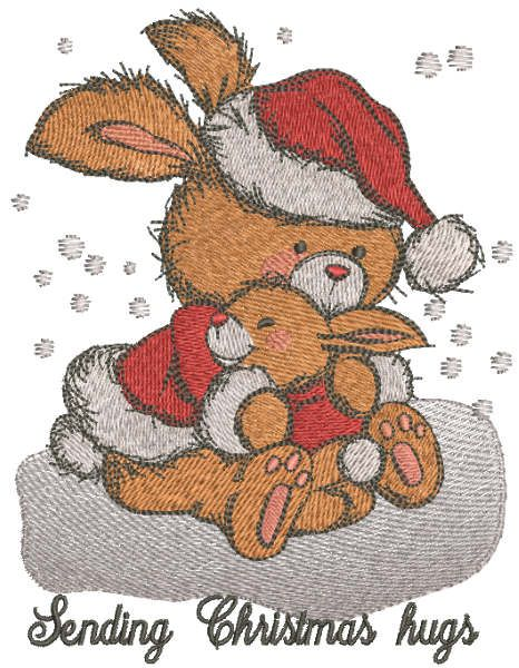Sending Christmas hugs embroidery design