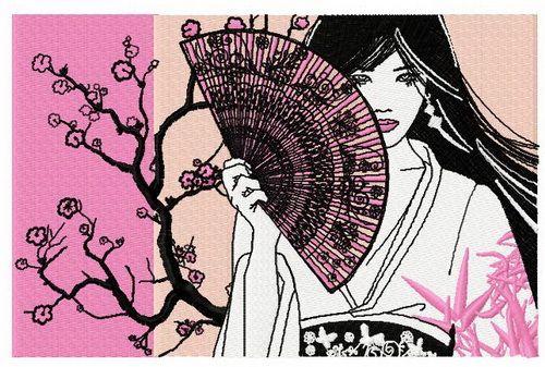 Shy Japanese girl machine embroidery design