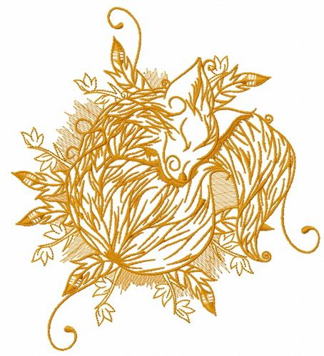 Sleeping fox embroidery design 2