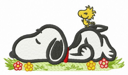 Sleeping Snoopy embroidery design