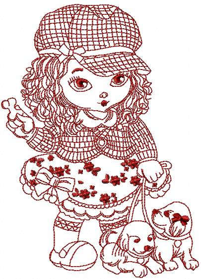 Stylish girl redwork embroidery design 2