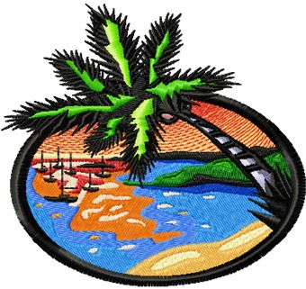 Sun Beach free machine embroidery design
