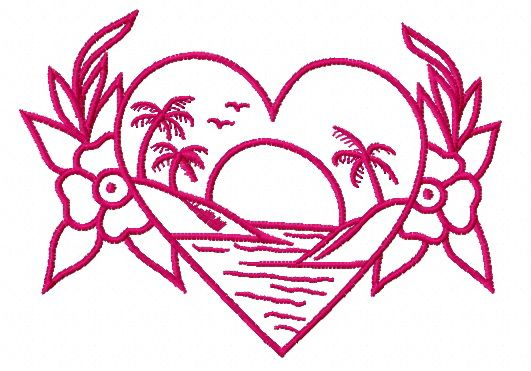 Sunset in my heart machine embroidery design 2