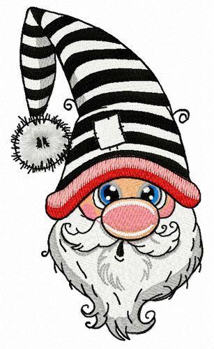 Surprised gnome embroidery design
