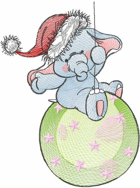 Tattered Christmas circus embroidery design