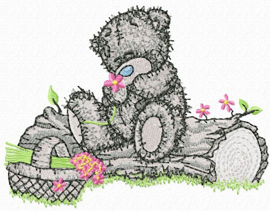 Teddy Bear with a basket of flowers embroidery design