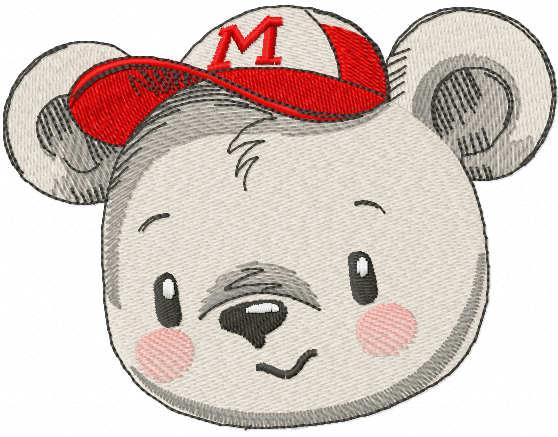Teddy bear baseball cap embroidery design