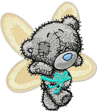 Teddy Bear can fly embroidery design