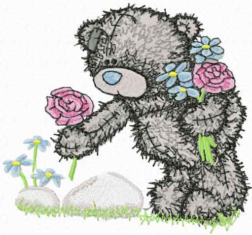 Teddy bear collects flowers embroidery design