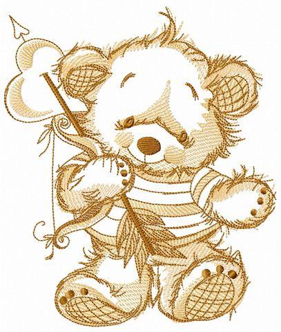 Teddy Bear Cupid Sketch Embroidery Design