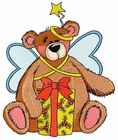Teddy bear fairy embroidery design 7