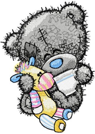 Teddy bear five o*clock tea embroidery design