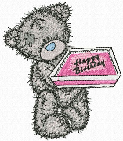 Teddy Bear Happy Birthday embroidery design