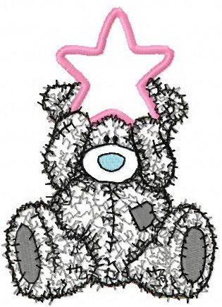 Teddy Bear Happy Christmas applique embroidery design