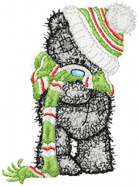 Teddy Bear very cold embroidery design