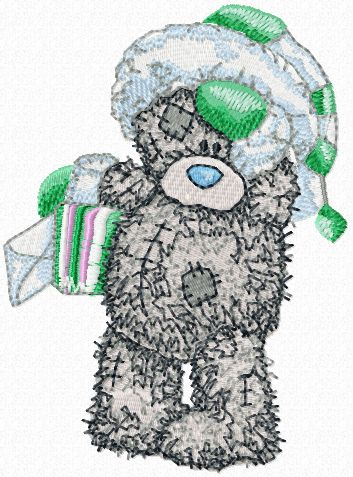 Teddy Bear winter mail embroidery design