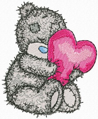 Teddy Bear with a pillow heart embroidery design