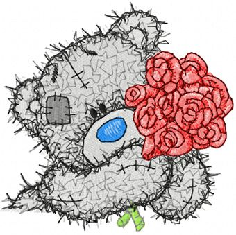 Teddy Bear with roses embroidery design