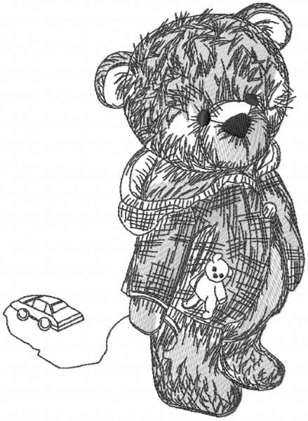 Teddy toy vintage embroidery design