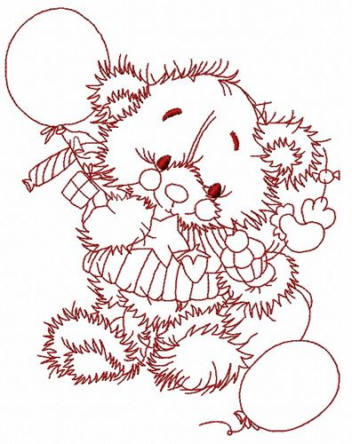 Teddy's birthday embroidery design 4