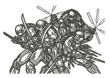 Teenage Mutant Ninja Turtles sketch machine embroidery design