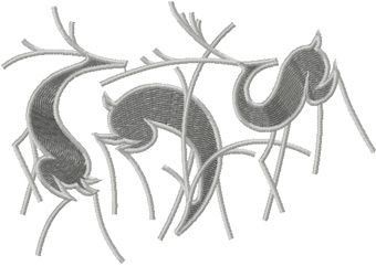 Three deer embroidery design