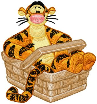 Tigger in basket machine embroidery design