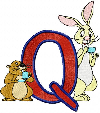 Rabbit and Gopher Alphabet Letter Q embroidery design