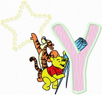 Winnie Pooh And Tigger Look At The Moon Letter Y Embroidery Design