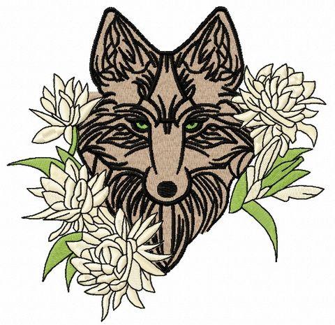 Tribal wolf machine embroidery design 8