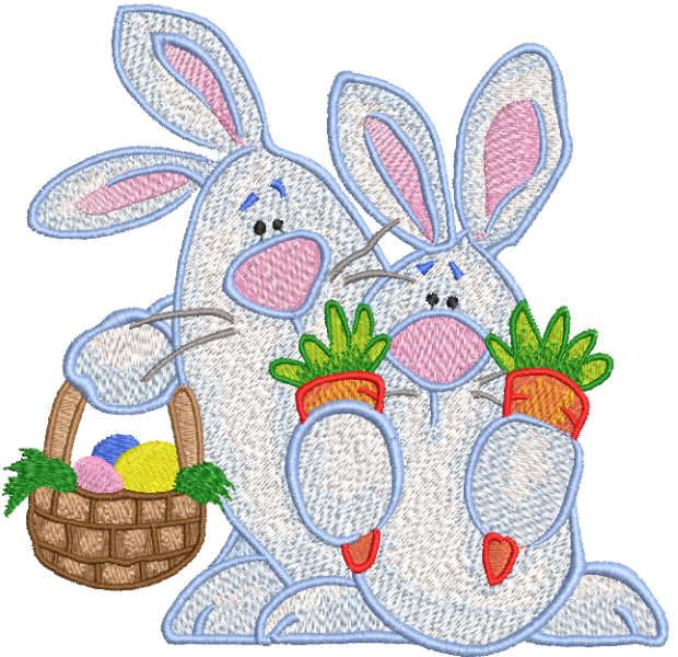 Two Easter Bunnies with basket embroidery design